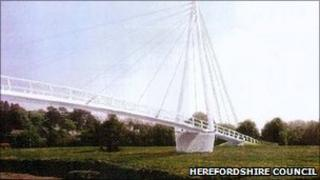 Artist's impression of new foot and cycle bridge in Hereford