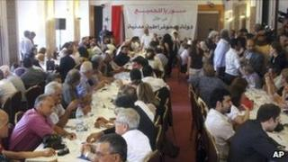 Syrian dissidents meet at the Semiramis hotel in Damascus (27 June 2011)