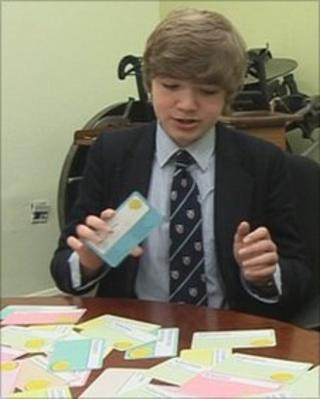 Crawford Johnston with Creative Writing Magic Money Cards