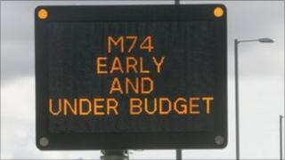 M74 motorway sign