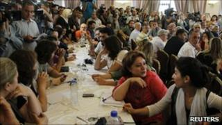 A view shows Syrian opposition dissidents during a deliberative meeting held in Damascus, 27 June 2011