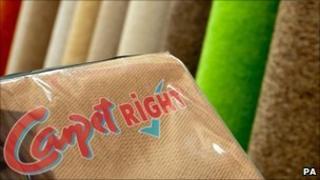 Carpetright logo and carpets