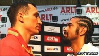 Haye (right) captured the WBA title from Nikolai Valuev in 2009