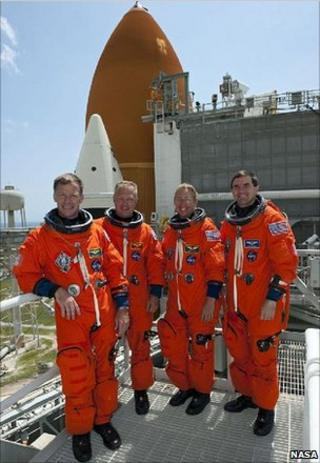 From left are Commander Chris Ferguson, Pilot Doug Hurley, Mission Specialists Sandy Magnus and Rex Walheim (Nasa)