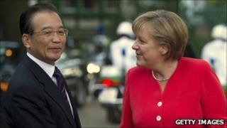 Wen Jiabao with German Chancellor Angela Merkel