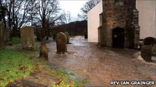 Flood waters surrounded the church during 2009