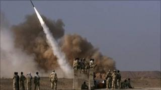 An Iranian missile being launched