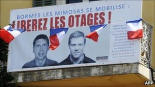 A placard calling for the release of Stephane Taponier and Herve Ghesquiere in Bormes-les-Mimosas, southern France, 19 May 2011