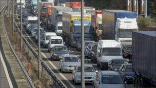 Motorway traffic jam