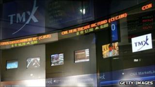 Screens at Toronto stock exchange