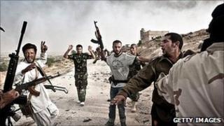 Libyan rebels round-up soldiers loyal to Col Gaddafi in Western Libya. 7 June 2011