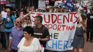 Teachers and public sector workers march in Ipswich