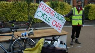York Stop the Cuts organised a mass pedal through York visiting picket lines