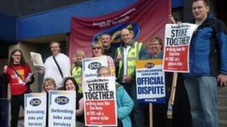 Union members outside the Department for Work and Pensions in Stoke-on-Trent