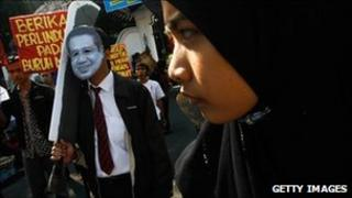 Protestors demonstrate over the recent execution of an Indonesian maid in Saudi Arabia, on June 24, 2011 in Yogyakarta, Indonesia