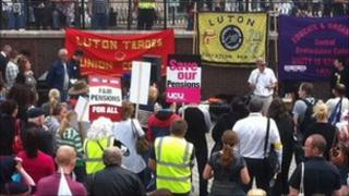 Striking workers at a rally in Luton