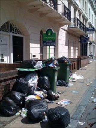 Rubbish in Portland Street, central Southampton