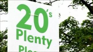 Advisory 20mph speed limit sign in Southwell, Nottinghamshire