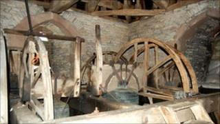 The bell chamber inside Westbury-on-Severn bell tower