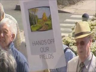Protesters in Ruthin