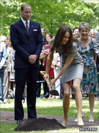 The Duke and Duchess of Cambridge plant a Hemlock tree in Ottawa, Canada