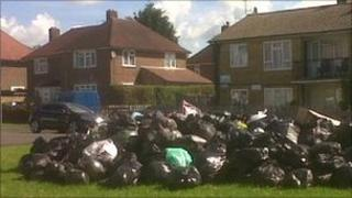 Rubbish piled up in the Shirley Warren area of Southampton