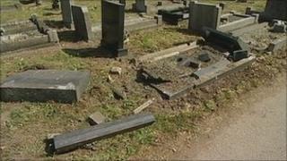 Cemetery damage at Church Warsop