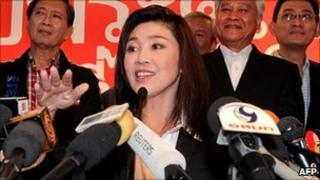 Yingluck Shinawatra at her party headquarters