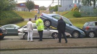 One car ended up on top of the vehicle behind in Fforestfach
