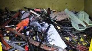 Knives collected in amnesty bin