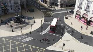 Artists' impression of Piccadilly Circus after revamp