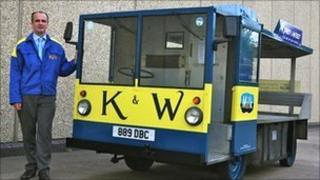 Graham Smith with a Kirby & West milk float