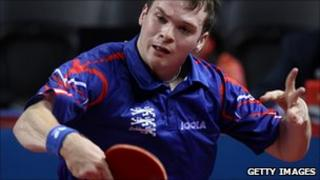 Paul Drinkhall playing table tennis