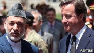 David Cameron and Hamid Karzai
