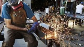 Man cutting steel