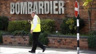 Worker outside Bombardier factory