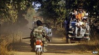 Indian villagers and paramilitaries