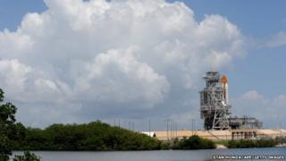 Space shuttle Atlantis STS-135 sits on launch pad 39A at the Kennedy Space Center in Cape Canaveral