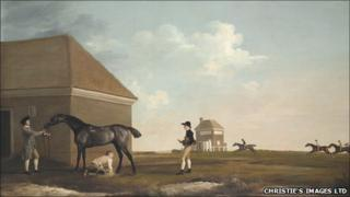 Gimcrack On Newmarket Heath with a Trainer, a Stable-Lad and a Jockey by George Stubbs