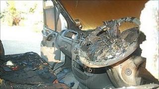 Highgate Farm, damaged van