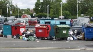 Recycling bins at Tesco in Brislington, Bristol