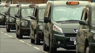 Hackney cabs on Station Street in Nottingham city centre