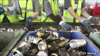 recycling drinks cans