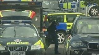 Armed police in Elizabeth Road, Southend
