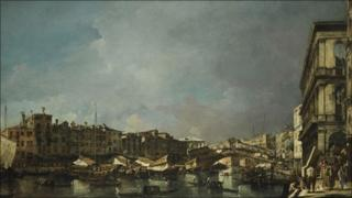Venice, a View of the Rialto Bridge, Looking North, from the Fondamenta del Carbon by Francesco Guardi