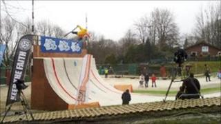 Quarter pipe at Ski Rossendale