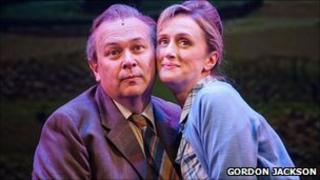 Vincent Franklin as Tubby and Jenna Russell as Enid in That Day We Sang