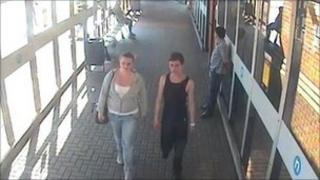 CCTV images of missing teenagers Charlotte Ford and Luke Jarvis captured by cameras at Dudley bus station on 26 June at about 1700 BST
