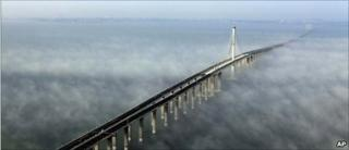 """This photo taken Wednesday, June 29, 2011 released by China""""s Xinhua news agency shows the Jiaozhou Bay Bridge in Qingdao, east China""""s Shandong Province."""