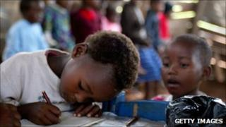 Orphans are given lessons in a make-shift school at Malkerns outside Manzini (archive shot)
